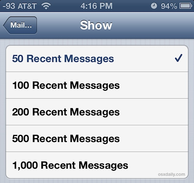 Mostra più e-mail nella Posta in arrivo di iPhone e iPad