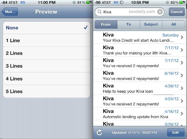 Visualizza più e-mail per schermo nell'app Mail per iOS