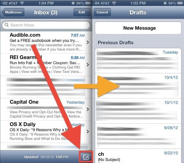 Apri rapidamente la cartella delle bozze sull'app Mail in iOS