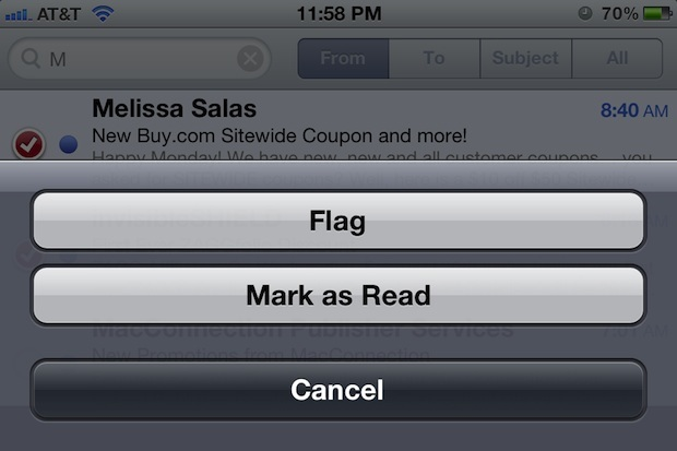 Gestisci in blocco e-mail e contrassegnali come letti in iOS