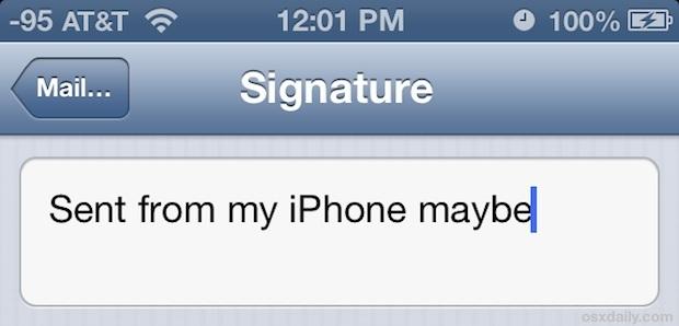 Cambia la firma inviata dalla mia firma iPhone