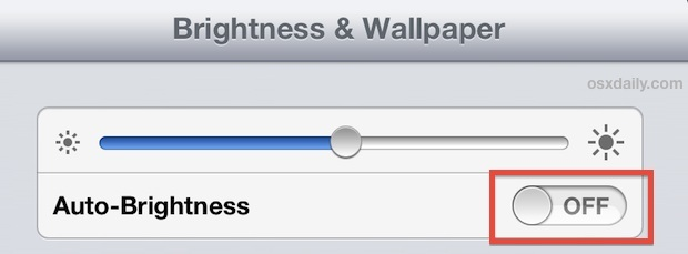 Disattiva le regolazioni della luminosità automatica sull'iPad
