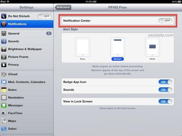 Disattiva le notifiche e gli avvisi dell'app sull'iPad