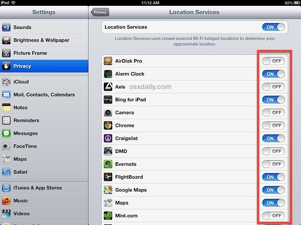 Disattiva i servizi di localizzazione per le app sull'iPad