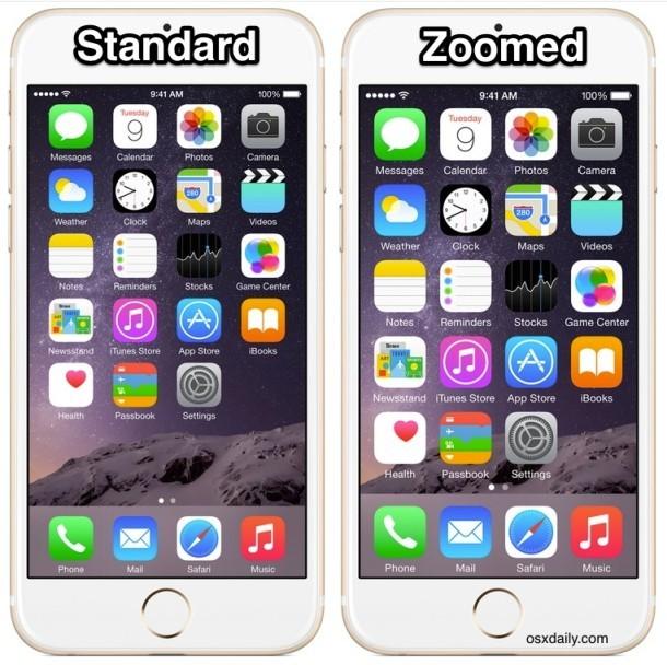 Modalità di visualizzazione iPhone standard vs Zoomed