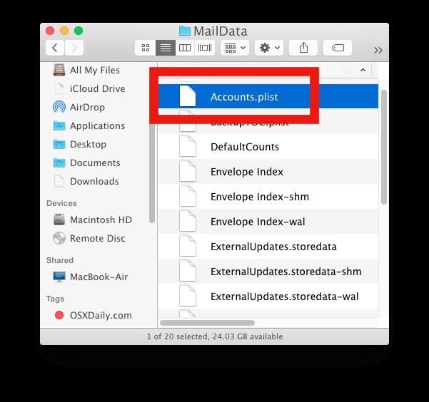 Modifica il file plist degli account di posta in Mac OS X