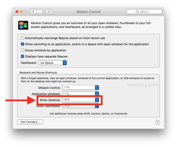 Abilita la scorciatoia da tastiera Mostra desktop su Mac