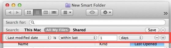 Smart Folder ultima data modificata