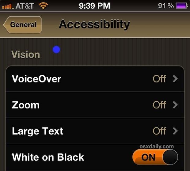 Inverti i colori dello schermo in iOS