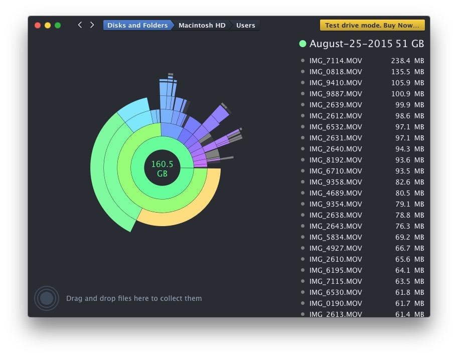 DaisyDisk analizza lo spazio di archiviazione su un Mac in modo molto attraente