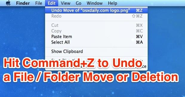 Annulla un file o una cartella sposta / Cestino premendo Command-Z