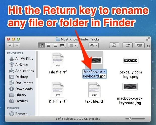 Il tasto Invio rinominerà istantaneamente un file o una cartella