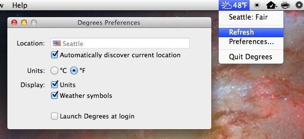 L'elemento della barra dei menu gradi mostra il tempo