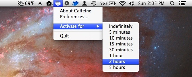 Barra dei menu della caffeina