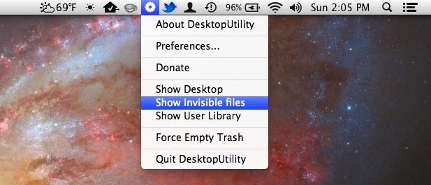 Elemento della barra dei menu di Desktop Utility