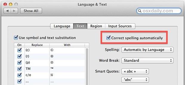 Correzione automatica ortografica in Mac OS X