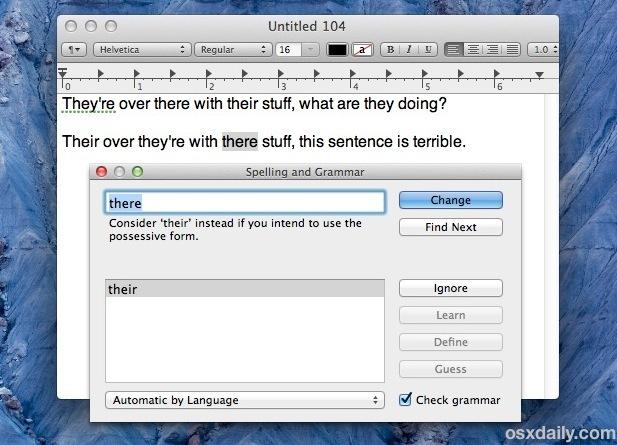 Lo strumento Ortografia e grammatica in Mac OS X