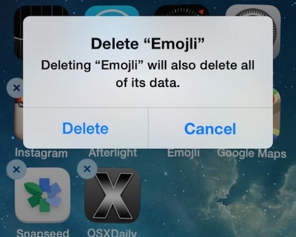 Elimina app da iOS