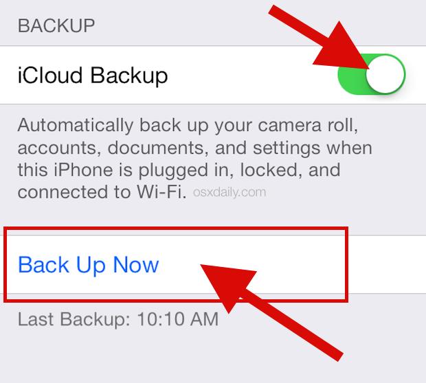 Esegui il backup su iCloud in iOS