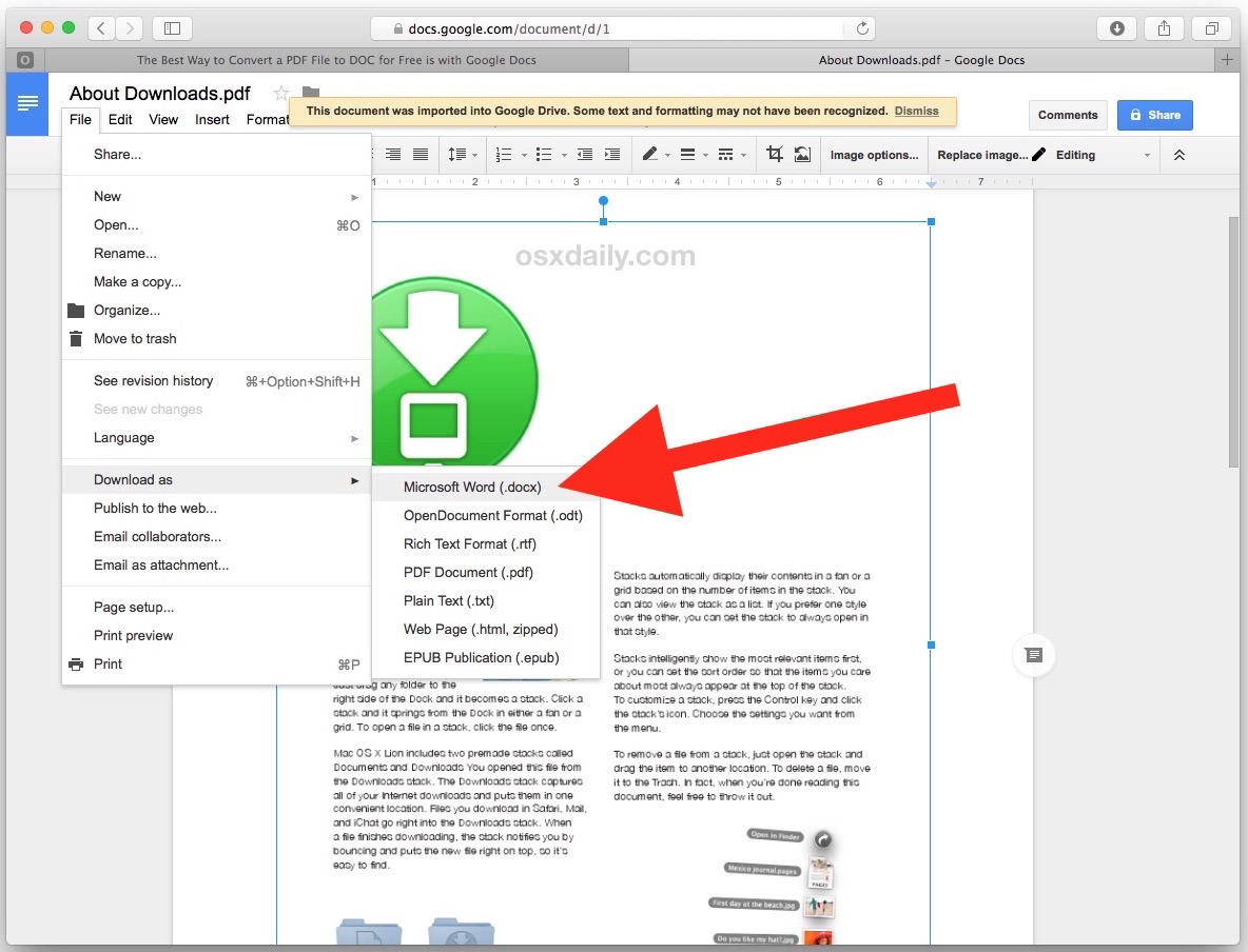 Converti file PDF in DOCX Word in Google Documenti