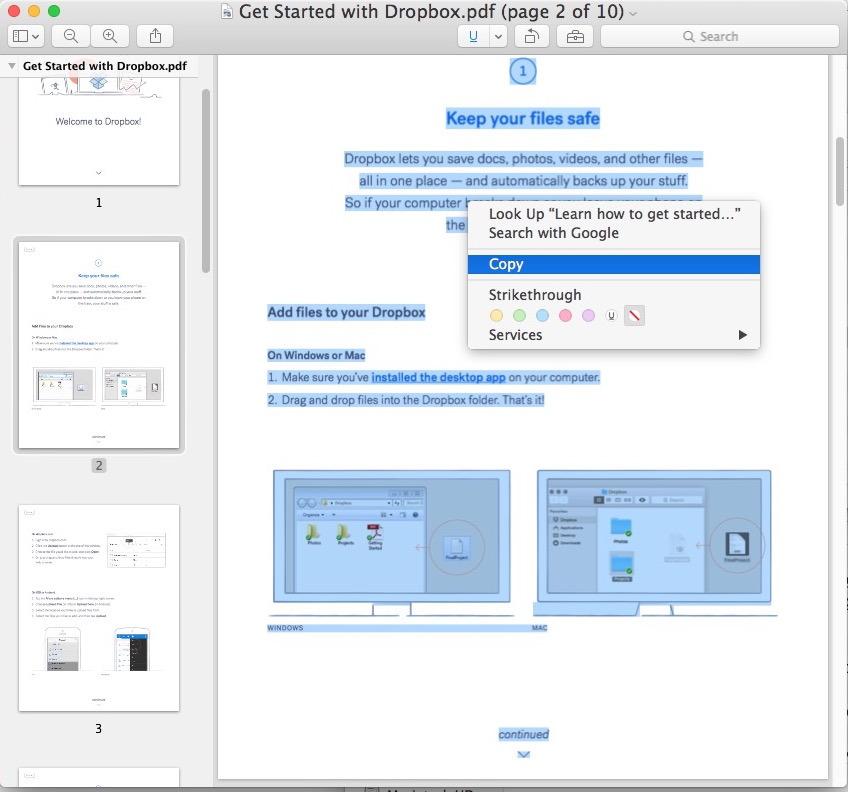 Seleziona tutto il testo in PDF e copialo in un file DOC