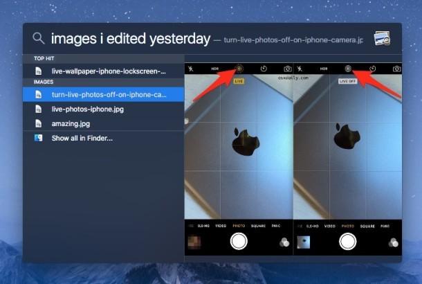 Trova i file che hai modificato ieri con Spotlight su Mac