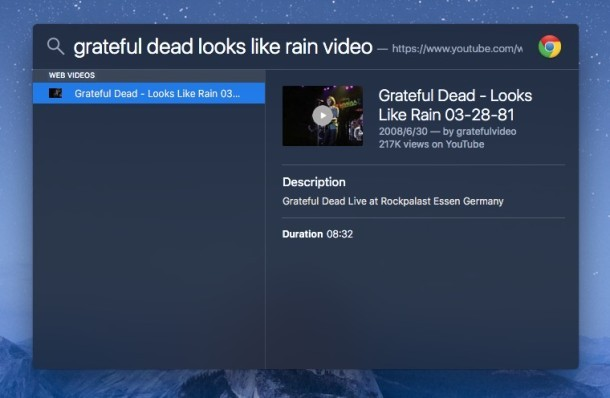 Ricerca di video musicali o video Web specifici con Spotlight su Mac