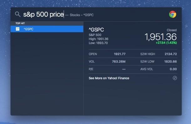 Ottieni il prezzo dell'indice S & P da Spotlight su Mac