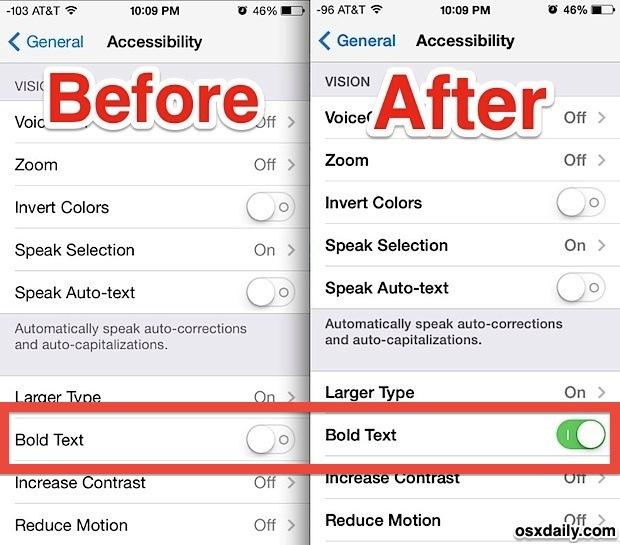 Caratteri in grassetto in iOS 7