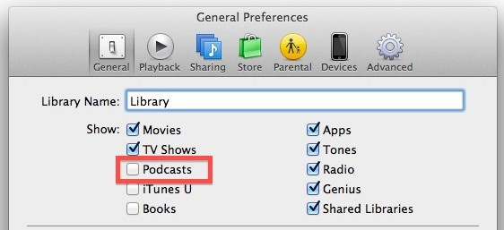 Mostra i podcast su iTunes 11