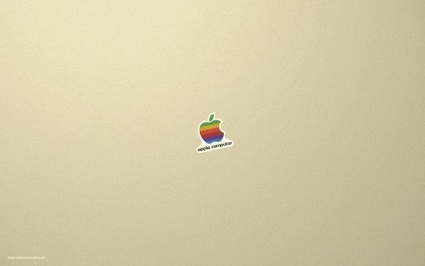 Retro adesivo Apple trasformato in carta da parati
