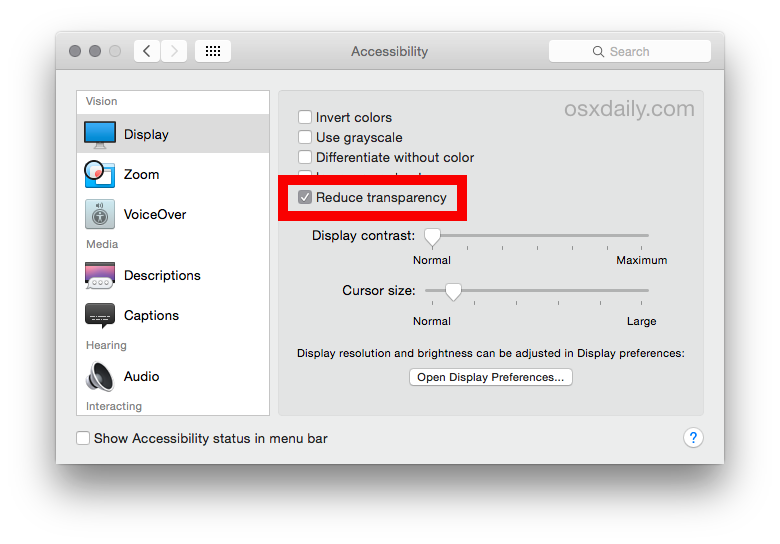 Disattiva gli effetti di trasparenza in OS X Yosemite