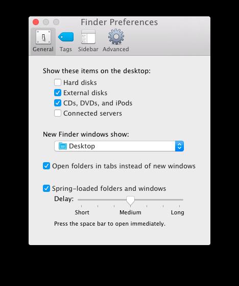 Le nuove finestre del Finder si aprono nella cartella statica