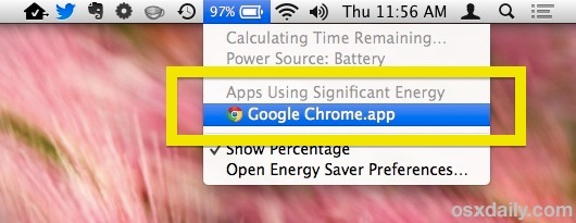 Trova le app usando energia con la barra dei menu