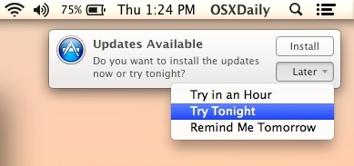 Ripianificare i promemoria per l'installazione dell'aggiornamento software