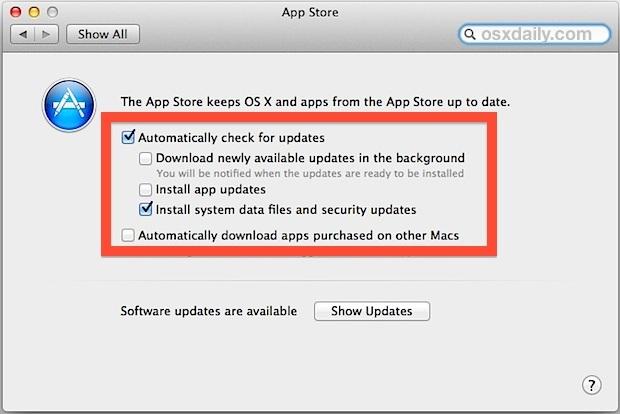 App automatica e aggiornamenti di sistema in Mac OS X