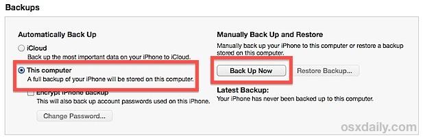 Esegui il backup di iPhone sul computer con iTunes
