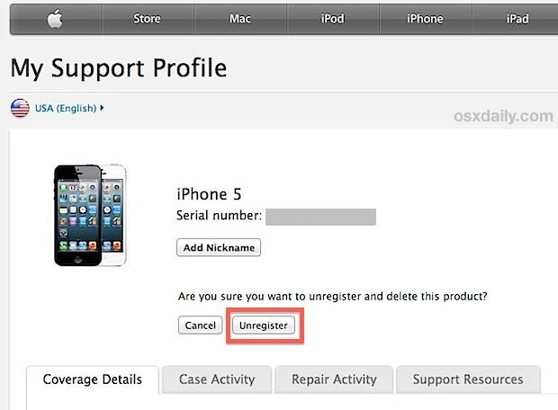 Annullare la registrazione dell'iPhone con Apple