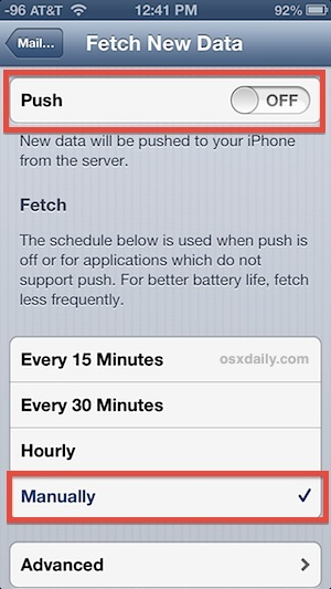 Spegni Push e imposta la posta elettronica su Fetch Manually