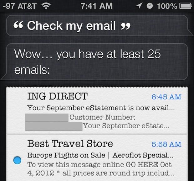 Controlla l'email con Siri