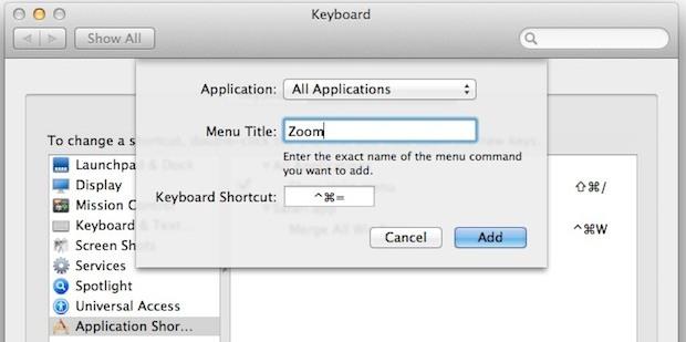 Scorciatoia da tastiera con finestra di zoom in Mac OS X