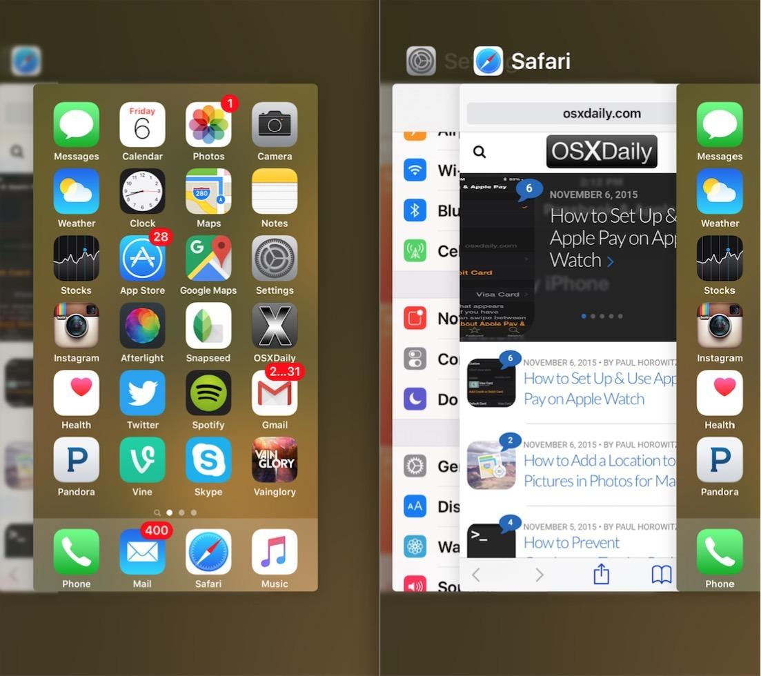 È possibile accedere alla schermata multitasking di App Switcher su iPhone con 3D Touch