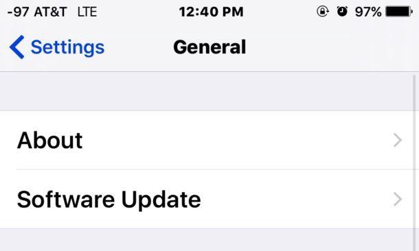 Aggiornamento software su iOS