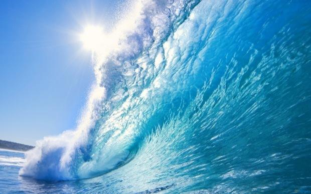 Grande carta da parati dell'onda blu