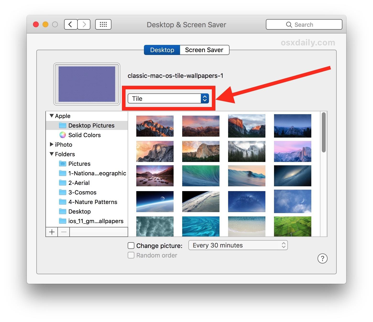Come tessere uno sfondo in Mac OS