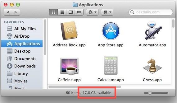 Controlla lo spazio disponibile su disco su un Mac