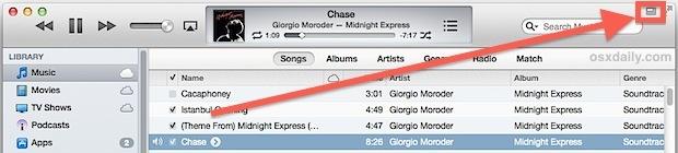 Il pulsante Mini player trasforma iTunes in piccoli controlli musicali