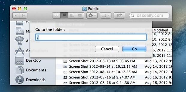 Vai alla directory di root / in Mac OS X