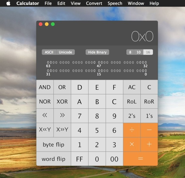 Calcolatrice per programmatore in Mac OS X