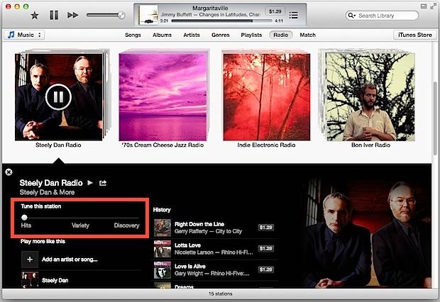 Sintonizzazione delle stazioni radio iTunes